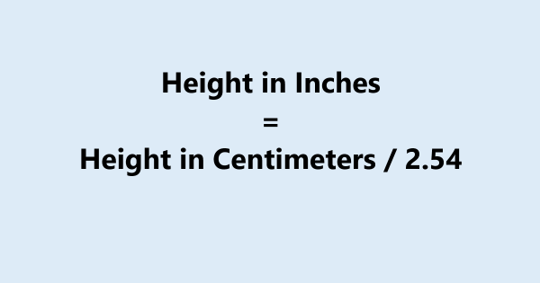 Height Conversion cm to Inches